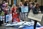 Un grupo se manifiesta en Sydney, Australia, a favor del Día Japonés del Delfín, en contra de la matanza de los animales en Taiji, Japón / AFP PHOTO/Peter PARKS