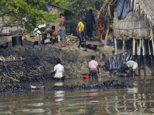 Preocupación por derrame de petróleo en el delta del Sundarbans, Bangladesh.